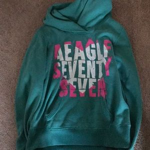 American Eagle Outfitters teal pullover hoodie